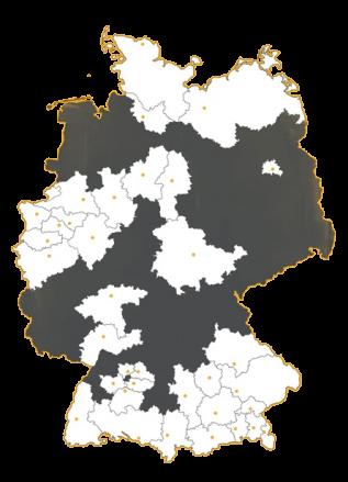 Karte des Joblocal-Netzwerks: verschiedene Gebiete in 12 Bundesländern stehen zur Auswahl, um Stellenanzeigen zu schalten